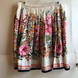 OLD NAVY Cream Ivory Asian Floral A-Line Skirt 10